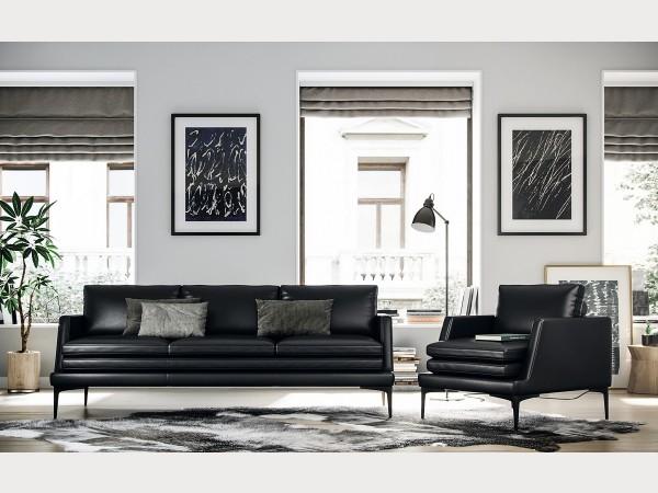 439 - Rica Black Sofa Set - Timeless Moroni Leather